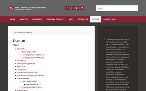 Screenshot of Site Map Page ncer1.org - Sitemap - North Carolina Executive Roundtable - captured Nov. 30, 2016