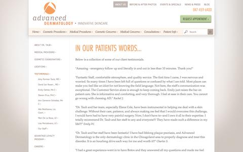 Screenshot of Testimonials Page advdermatology.com - Positive reviews about Dr. Taub and Advanced Dermatology | Advanced Dermatology - captured Feb. 5, 2016