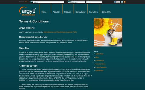 Screenshot of Terms Page argyllenvironmental.co.uk - Terms & Conditions | Argyll Environmental - captured Oct. 4, 2014