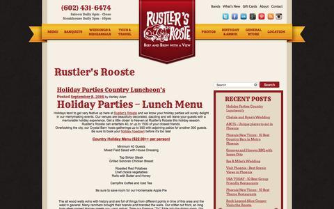 Screenshot of Blog rustlersrooste.com - Rustler's Rooste - What's New at the Rooste! - captured Dec. 7, 2016