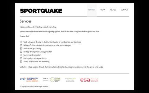 Screenshot of Services Page sportquake.com - Services  –   SportQuake   Sports Marketing Agency   Shaking Up Sport - captured Oct. 7, 2014