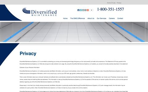 Screenshot of Privacy Page diveinc.com captured Oct. 5, 2014