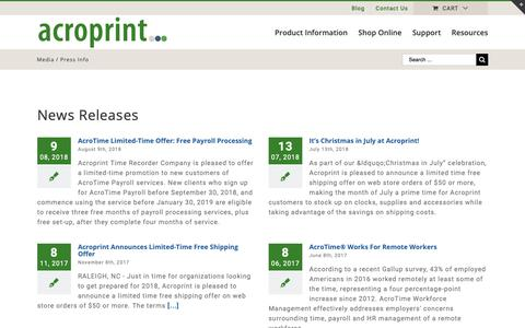 Screenshot of Press Page acroprint.com - Media Room and Press Resources | Acroprint Time Recorder Co. - captured Oct. 24, 2018
