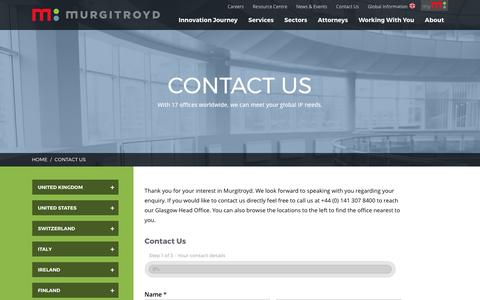Screenshot of Contact Page murgitroyd.com - Contact Us | Murgitroyd - captured May 11, 2017