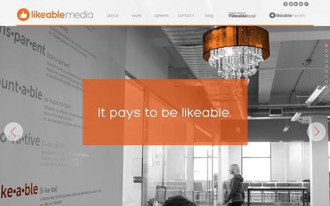 Screenshot of Home Page likeable.com - Likeable Media - captured Sept. 23, 2014