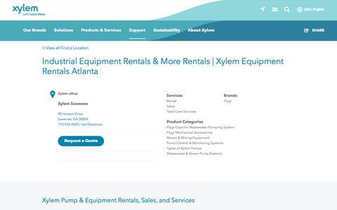 Screenshot of Support Page xylem.com - Industrial Equipment Rentals & More Rentals   Xylem Equipment Rentals Atlanta   Xylem US - captured Nov. 9, 2019