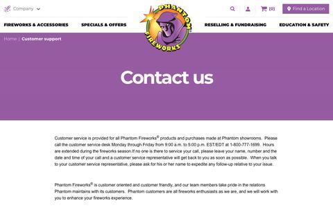 Screenshot of Support Page fireworks.com - Customer Support | Phantom Fireworks - captured Sept. 27, 2018