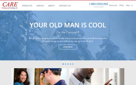 Screenshot of Home Page careheatingcooling.com - CARE Heating and Cooling    Columbus, Ohio Heating and Cooling Service and Repair    Central Ohio HVAC service and Installation   Care Heating and Cooling - captured Jan. 24, 2016