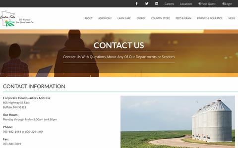 Screenshot of Contact Page centrasota.com - Contact - Centra Sota Coop - captured Sept. 29, 2018