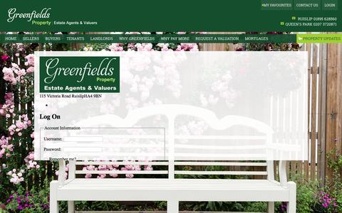 Screenshot of Login Page greenfieldsproperty.co.uk - Greenfields Property Estate Agents   Login - captured May 25, 2017