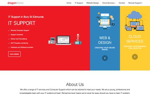 Screenshot of Home Page dragonmicro.co.uk - IT Support Bury St Edmunds · Dragonmicro - captured Oct. 9, 2018