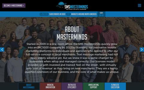 Screenshot of About Page smsmasterminds.com - About SMS Masterminds - captured Dec. 19, 2015