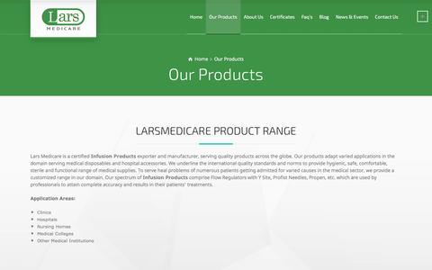 Screenshot of Products Page larsmedicare.com - Our Products - Lars Medicare Pvt. Ltd - captured Oct. 24, 2016