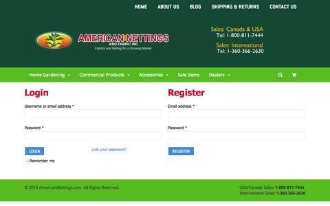 Screenshot of Login Page americannettings.com - My Account - AmericanNettings.com: 1-800-811-7444AmericanNettings.com - captured Sept. 30, 2014