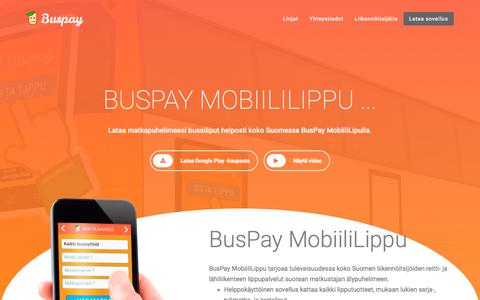Screenshot of Home Page buspay.fi - BusPay Oy – Bussiliput helposti koko Suomessa, BusPay Mobiililippu. - captured July 8, 2018