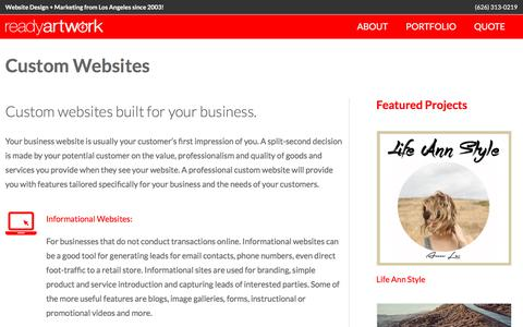 Screenshot of readyartwork.com - Custom Websites - Ready Artwork - captured June 10, 2017