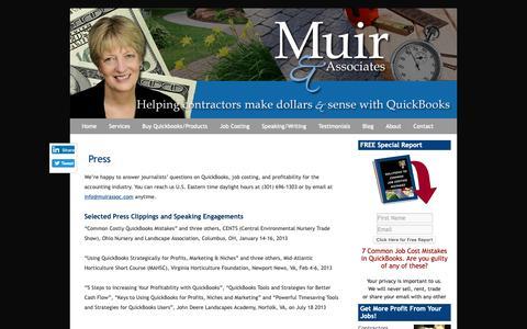Screenshot of Press Page muirassoc.com - QuickBooks Landscaping Lawn Care Irrigation Job Costing Frederick MD Press - captured Oct. 18, 2018