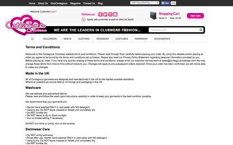 Screenshot of Terms Page contagiousclubwear.com - Contagious Clubwear Terms and Conditions - captured Nov. 2, 2014
