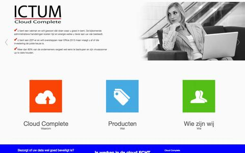Screenshot of Home Page ictum.nl - ICTUM CLOUD COMPLETE - Werken in de cloud - captured Sept. 29, 2014