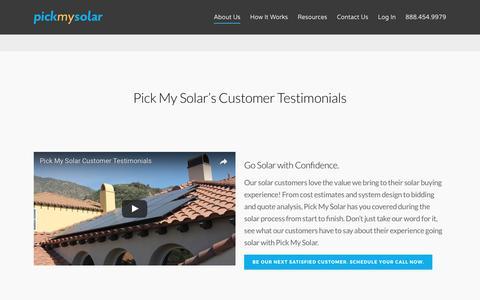 Screenshot of Testimonials Page pickmysolar.com - Solar Customer Testimonials | Pick My Solar - captured May 25, 2017