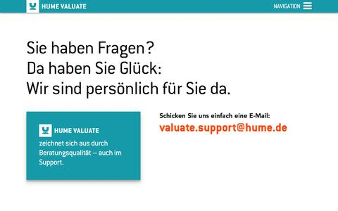 Screenshot of Support Page hume.de - Kontakt - HUME Valuate - captured July 10, 2016