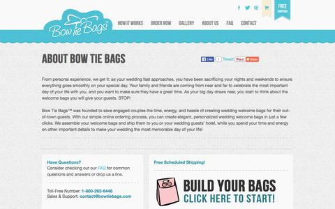 Screenshot of About Page bowtiebags.com - Wedding Welcome Bag Ideas | Wedding Gift Bags - captured Jan. 7, 2016