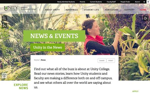 Screenshot of Press Page unity.edu - News & Events | Unity College - captured Oct. 26, 2014