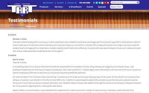 Screenshot of Testimonials Page tartlumber.com - Tart Lumber - Hardware Store, Kitchen Cabinets, Windows, Doors, Millwork & More - captured Dec. 13, 2016