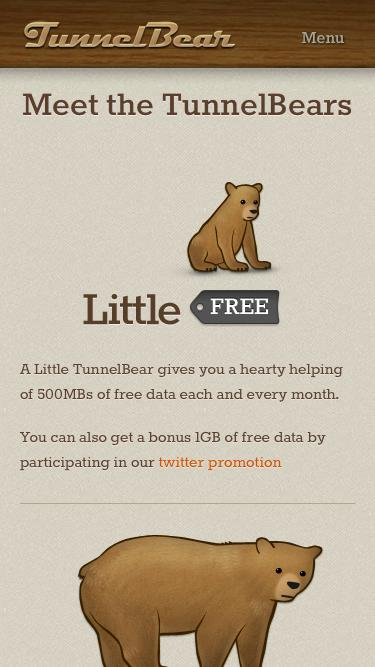 Screenshot of Pricing Page  tunnelbear.com - Pricing | TunnelBear