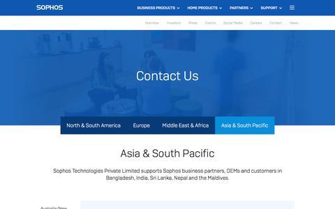 Screenshot of Contact Page sophos.com - APAC Region | Contact Sophos Security in the APAC Region - captured Aug. 16, 2019