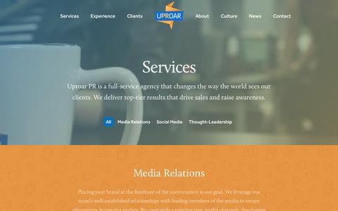 Screenshot of Services Page uproarpr.com - Services - Uproar PR Uproar PR - captured Aug. 12, 2015