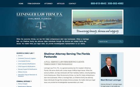 Screenshot of Home Page leiningerlawfirmpa.com - Shalimar Divorce Lawyer | Fort Walton Beach Criminal Attorney | Florida DUI Defense - captured July 18, 2018