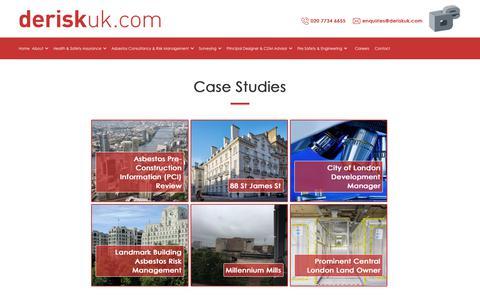 Screenshot of Case Studies Page deriskuk.com - Case Studies - captured Oct. 8, 2018