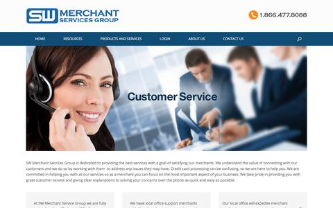 Screenshot of Support Page swmerchant.com - Customer Service - SW Merchant Services Group - captured Oct. 2, 2017