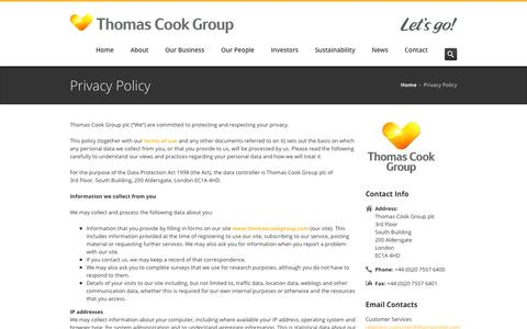 Thomas Cook Group – Privacy Policy