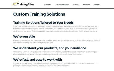 Screenshot of Services Page trainingallies.com - Custom Training Solutions - Training Allies, LLC - captured Dec. 3, 2016