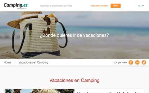 Screenshot of Press Page camping.es - Vacaciones en Camping, News de los Camping.es, Camping en Europa - captured Feb. 15, 2018