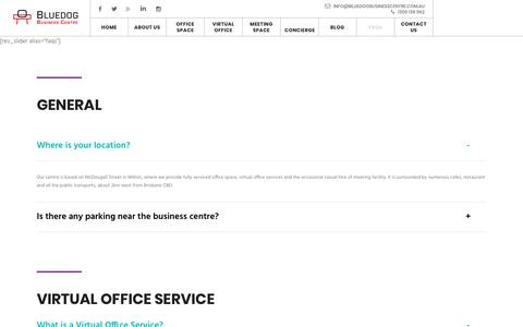 Screenshot of FAQ Page bluedogbusinesscentre.com.au - FAQs | Virtual Office|Serviced Office|Meeting Space - captured Aug. 3, 2018