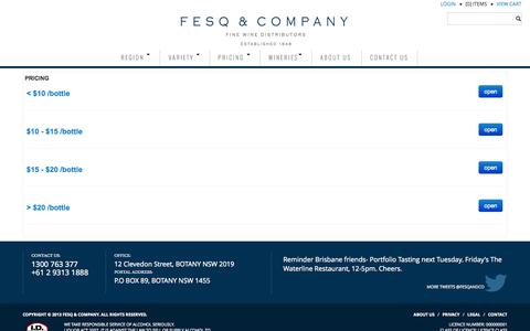 Screenshot of Pricing Page fesq.com.au - PRICING - captured Oct. 5, 2014