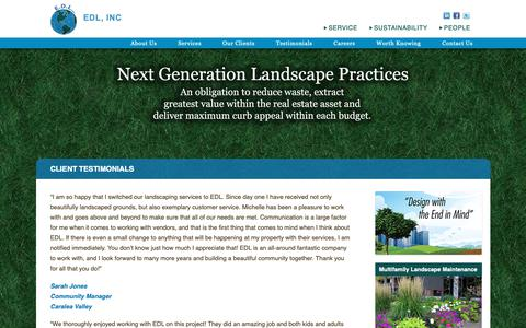 Screenshot of Testimonials Page edlnc.com - Client Testimonials | Environmental Design Landscape - captured Sept. 28, 2018