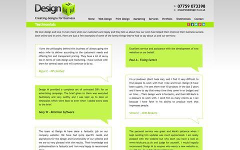 Screenshot of Testimonials Page design-m.co.uk - Testimonials | Design M - captured Sept. 30, 2014