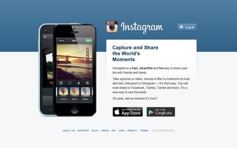 Screenshot of Home Page instagram.com - Instagram - captured July 17, 2014