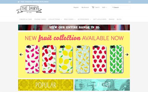 Screenshot of Home Page thedairy.com - iPhone Cases & Samsung Galaxy Cases by The Dairy - Designer Phone Cases - captured Sept. 24, 2014