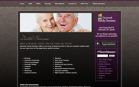 Screenshot of Services Page denmarkdental.net - Dental Services - General and Cosmetic Dentistry from Denmark Family Dentistry - captured Oct. 5, 2014