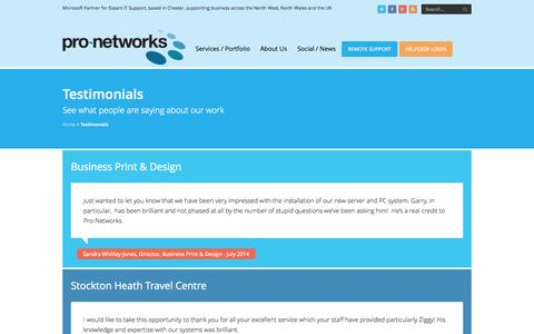 Screenshot of Testimonials Page pro-networks.co.uk - Testimonials Archive - | Pro-Networks - captured Sept. 30, 2014