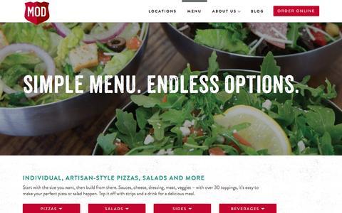 Screenshot of Menu Page modpizza.com - Menu   MOD Pizza - captured Dec. 21, 2016