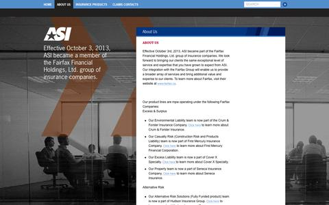 Screenshot of About Page amsafety.com - American Safety Insurance - captured Oct. 4, 2014