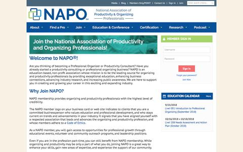 Screenshot of Signup Page napo.net - Join the National Association of Productivity and Organizing Professionals! - National Association of Productivity and Organizing Professionals (NAPO) - captured Sept. 20, 2018