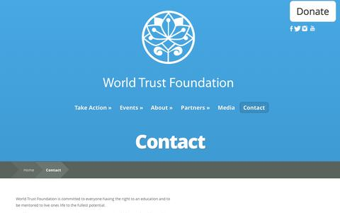 Screenshot of Contact Page worldtrust.org - Contact | World Trust Foundation - captured Nov. 3, 2014