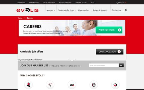 Screenshot of Jobs Page evolis.com - Recruitment | Evolis - captured July 21, 2018